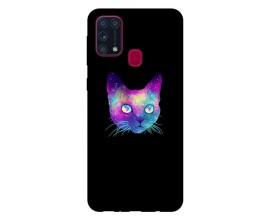 Husa Silicon Soft Upzz Print Samsung Galaxy M31 Model Neon Cat