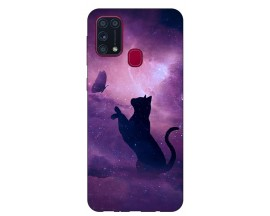 Husa Silicon Soft Upzz Print Samsung Galaxy M31 Model Shadow Cat