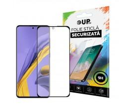 Folie Sticla Full Cover Full Glue 6d Upzz Compatibil Cu  Samsung Galaxy A71 Cu Adeziv Pe Toata Suprafata Folie Neagra