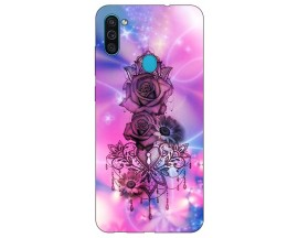 Husa Silicon Soft Upzz Print Samsung Galaxy M11 Neon Rose