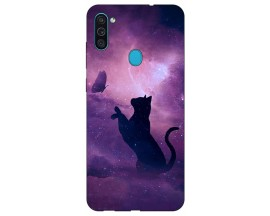 Husa Silicon Soft Upzz Print Samsung Galaxy M11 Shadow Cat