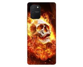 Husa Silicon Soft Upzz Print Samsung Galaxy S10 Lite Model Flame Skull