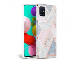 Husa Spate Tech-protect Marble Silicone Samsung Galaxy A41 Roz