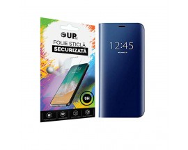Husa Tip Carte Mirror Samsung Galaxy A21S, Albastru Cu Folie Sticla Upzz Glass Inclusa In Pachet