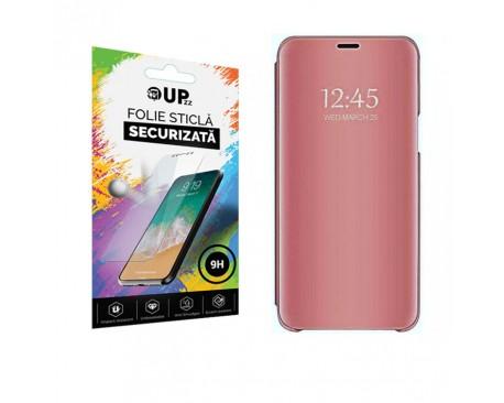 Husa Tip Carte Mirror Samsung Galaxy A21S, Roz Cu Folie Sticla Upzz Glass Inclusa In Pachet