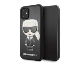 Husa Originala Premium Karl Lagerfeld iPhone 11, Iconic Karl Emossed ,Piele -KLHCN61IKPUBK