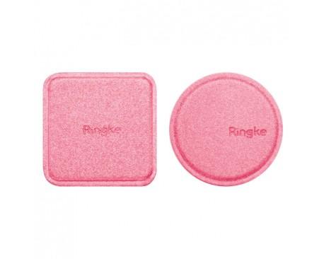 Set Placute Metalice Ringke Din Piele Rotund Si Patrat Pentru Suport Auto Magnetic,rOZ