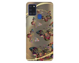Husa Silicon Soft Upzz Print Samsung Galaxy A21s Model Golden Butterfly