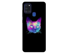 Husa Silicon Soft Upzz Print Samsung Galaxy A21s Model Neon Cat