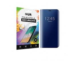 Husa Tip Carte Mirror Samsung Galaxy M21, Albastru Cu Folie Sticla Upzz Glass Inclusa In Pachet