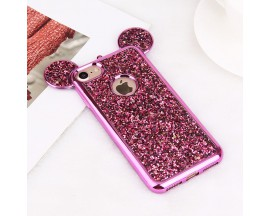 Husa Lux 3d Fashion Glitter Ears iPhone 7 Roz