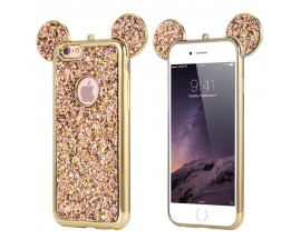 Husa Lux 3d Fashion Glitter Ears iPhone 7 Gold