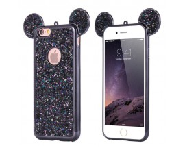 Husa Lux 3d Fashion Glitter Ears iPhone 7 Plus Black