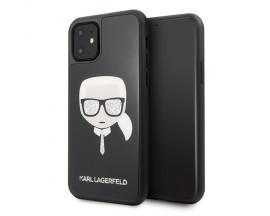 Husa Originala Premium Karl Lagerfeld iPhone 11 Iconic Glitter Karl's Head Tie- KLHCN61DLHBK