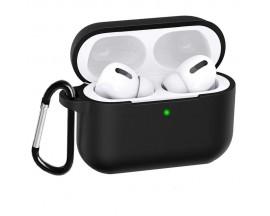 Husa Silicon Futeral PRO BOX Airpods + Agatatoare - Negru