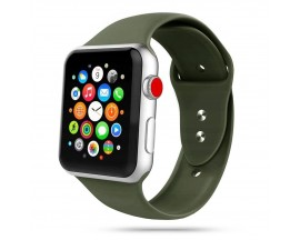 Curea Smooth Band Upzz Tech Protect ,compatibila Cu Apple Watch 1/2/3/4/5 (42/44mm), Army Verde