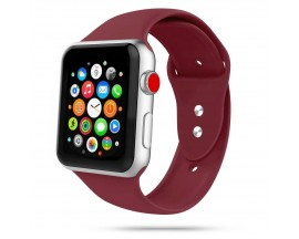 Curea Smooth Band Upzz Tech Protect ,compatibila Cu Apple Watch 1/2/3/4/5 (42/44mm), Bordo