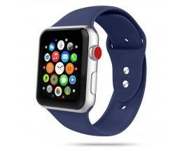 Curea Smooth Band Upzz Tech Protect ,compatibila Cu Apple Watch 1/2/3/4/5 (42/44mm), Midnight Blue
