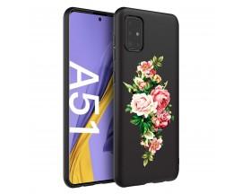Husa Silicon Soft Upzz Print Candy Samsung Galaxy A51 Roses Negru
