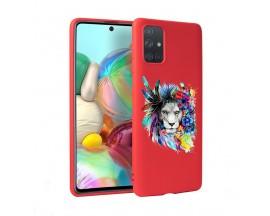 Husa Silicon Soft Upzz Print Candy Samsung Galaxy A51 Flower Lion Rosu