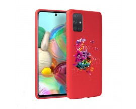 Husa Silicon Soft Upzz Print Candy Samsung Galaxy A51 Flower Pattern Rosu