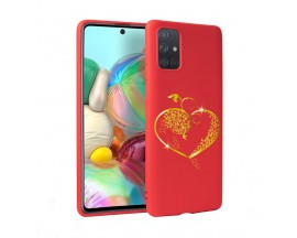 Husa Silicon Soft Upzz Print Candy Samsung Galaxy A51 Gold Heart Rosu