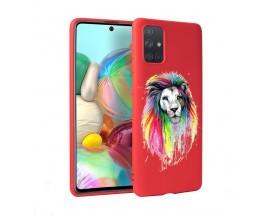 Husa Silicon Soft Upzz Print Candy Samsung Galaxy A51 Multicolor Lion Rosu