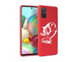 Husa Silicon Soft Upzz Print Candy Samsung Galaxy A51 Puma Rosu