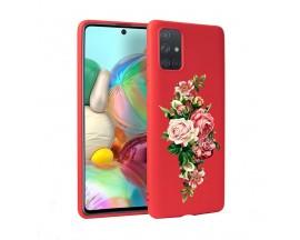 Husa Silicon Soft Upzz Print Candy Samsung Galaxy A51 Roses Rosu