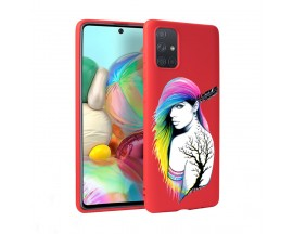 Husa Silicon Soft Upzz Print Candy Samsung Galaxy A51 Tatoo Girl Rosu