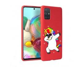 Husa Silicon Soft Upzz Print Candy Samsung Galaxy A51 Unicorn Rosu