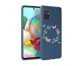 Husa Silicon Soft Upzz Print Candy Samsung Galaxy A51 Butterflies Circle Albastru