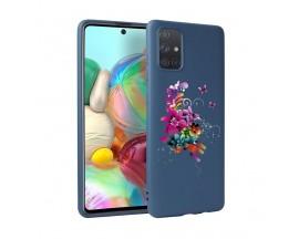 Husa Silicon Soft Upzz Print Candy Samsung Galaxy A51 Flower Pattern Albastru