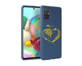 Husa Silicon Soft Upzz Print Candy Samsung Galaxy A51 Gold Heart Albastru