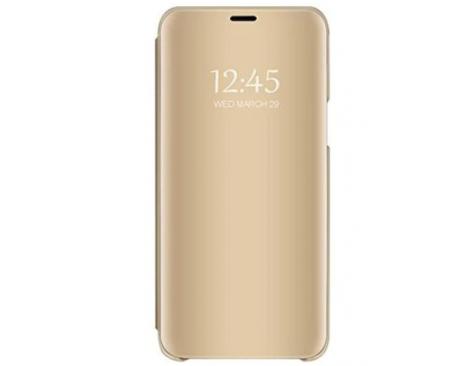 Husa Tip Carte Mirror Samsung Galaxy A21s, Gold Cu Folie Sticla Upzz Glass Inclusa In Pachet