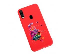 Husa Silicon Soft Upzz Print Candy Samsung Galaxy A20e Flower Pattern Rosu