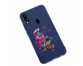 Husa Silicon Soft Upzz Print Candy Samsung Galaxy A20e Flower Pattern Albastru