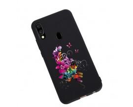Husa Silicon Soft Upzz Print Candy Samsung Galaxy A20e Flower Pattern Negru