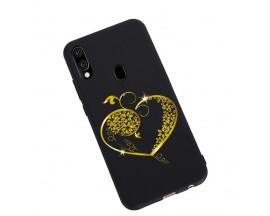 Husa Silicon Soft Upzz Print Candy Samsung Galaxy A20e Gold Heart Negru
