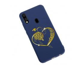 Husa Silicon Soft Upzz Print Candy Samsung Galaxy A20e Gold Heart Albastru