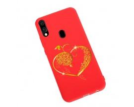 Husa Silicon Soft Upzz Print Candy Samsung Galaxy A20e Gold Heart Rosu