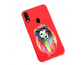 Husa Silicon Soft Upzz Print Candy Samsung Galaxy A20e Multicolor Lion Rosu