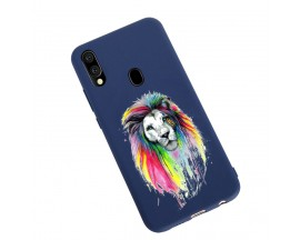 Husa Silicon Soft Upzz Print Candy Samsung Galaxy A20e Multicolor Lion Albastru