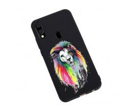 Husa Silicon Soft Upzz Print Candy Samsung Galaxy A20e Multicolor Lion Negru