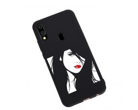 Husa Silicon Soft Upzz Print Candy Samsung Galaxy A20e Red Lips Negru