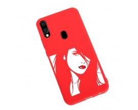 Husa Silicon Soft Upzz Print Candy Samsung Galaxy A20e Red Lips Rosu