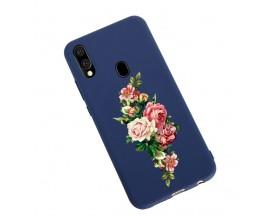 Husa Silicon Soft Upzz Print Candy Samsung Galaxy A20e Roses Albastru
