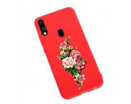 Husa Silicon Soft Upzz Print Candy Samsung Galaxy A20e Roses Rosu