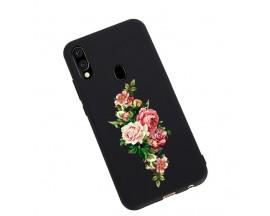 Husa Silicon Soft Upzz Print Candy Samsung Galaxy A20e Roses Negru