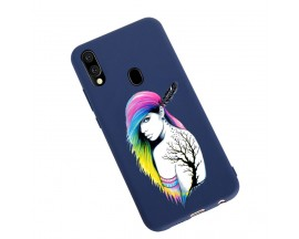 Husa Silicon Soft Upzz Print Candy Samsung Galaxy A20e Tatoo Girl Albastru